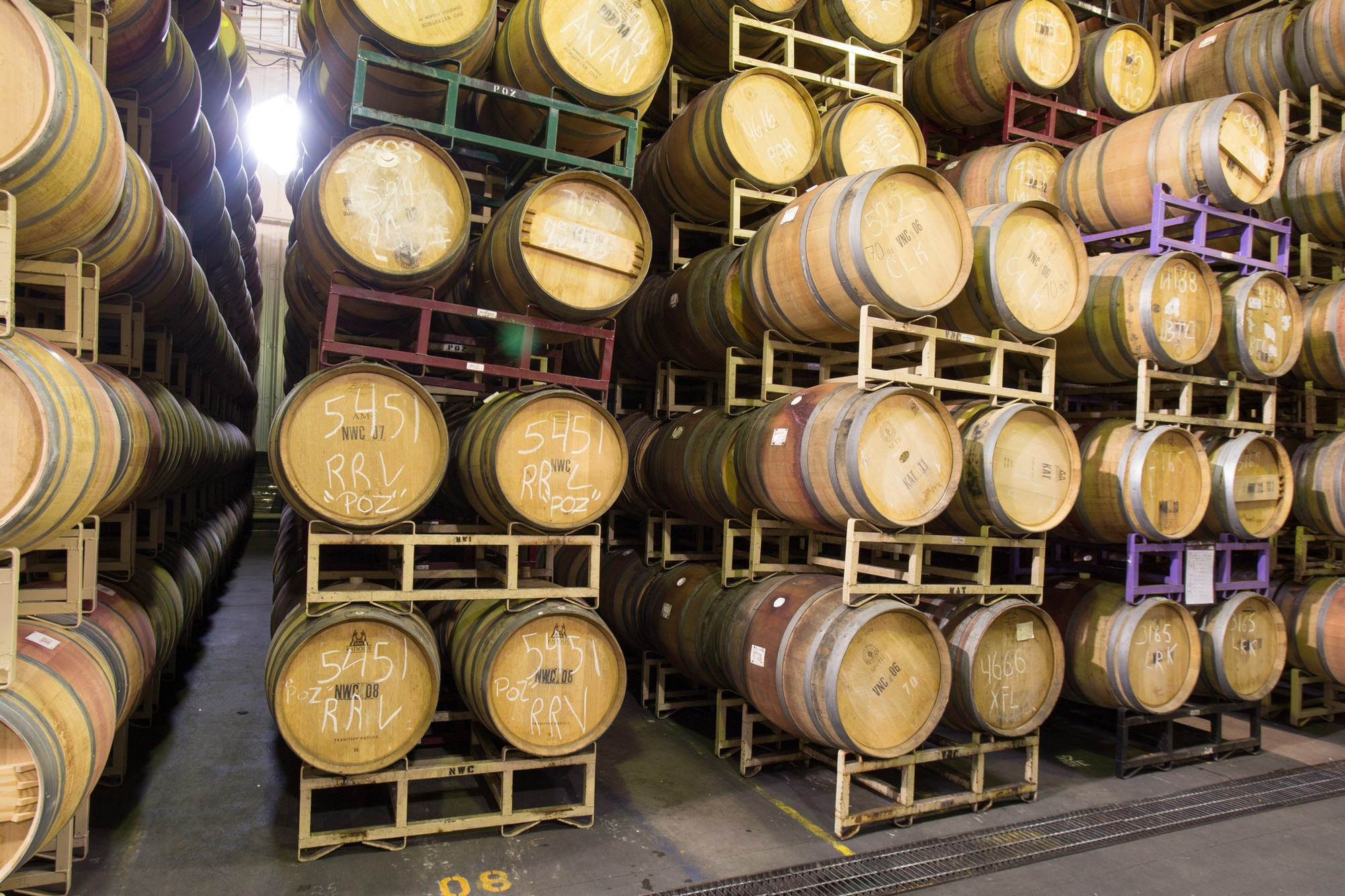 Stacks of wine barrels